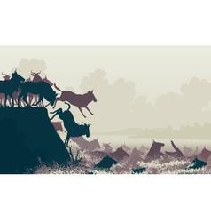 Wilderbeest river crossing vector image