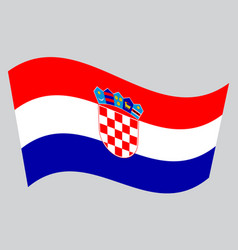 flag of croatia waving on gray background vector image vector image