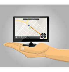 Hand Holding a GPS vector image vector image