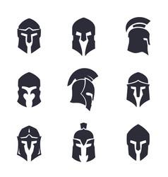 helmets set spartan greek and roman vector image