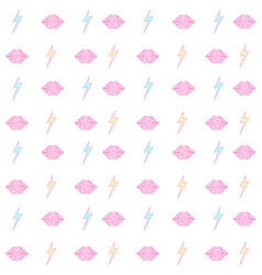 lips and lightning bolt seamless pattern vector image