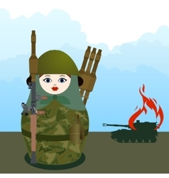 Nested doll with a grenade launcher vector image vector image