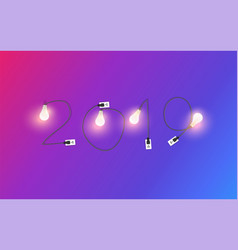 2019 new year with creative light bulb idea vector