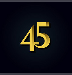 45 years anniversary gold number template design vector