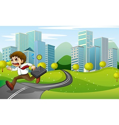 A nervous man running with a suitcase vector
