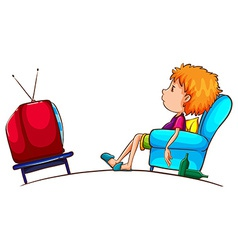 A sketch of a lazy boy watching TV vector image
