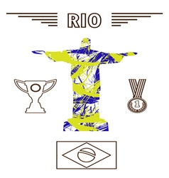 Abstract medal and rio design in outlines with sta vector image