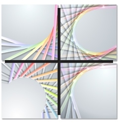 Abstract paper ribbons on gray background vector