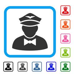 Airline steward framed icon vector