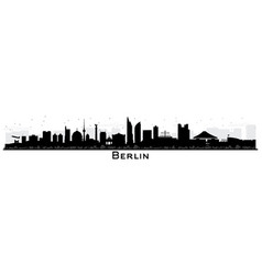 berlin germany city skyline silhouette with black vector image