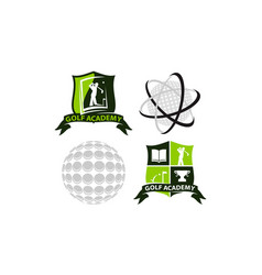 best course golf template set vector image