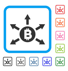 Bitcoin emission framed icon vector