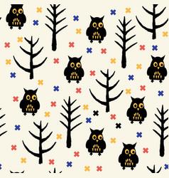 black owl halloween pattern vector image