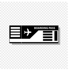 boarding pass ticket icon isolated on transparent vector image