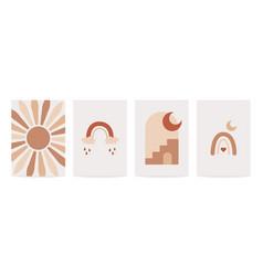 Boho contemporary posters nude color minimal vector