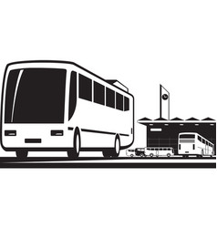 Buses arrive and depart at station vector