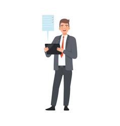 businessman shows completed goals on tablet vector image