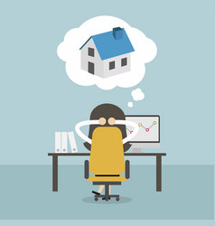 businesswoman dreaming about house vector image