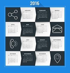 Calendar Template Calendar 2016 Week Starts Monday vector image