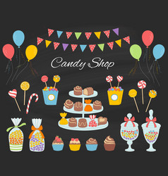 candy shop with colorful vector image
