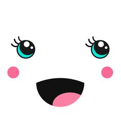 Childish cute girl kawaii face on white vector