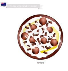 Chocolate Pavlova Meringue Cake New Zealand vector image