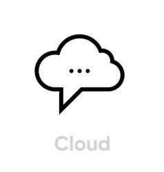 cloud message social icon editable outline vector image