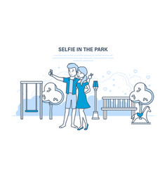 Couple doing a variety of fun selfie in the park vector