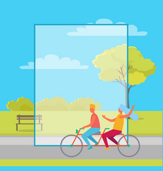 Couple riding double bicycle in summertime park vector