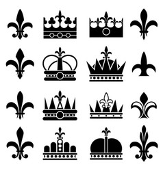 Crown and fleur de lis lily flowers royal vector