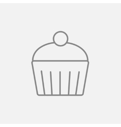 Cupcake with cherry line icon vector image
