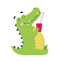 Cute crocodile drinking soda drink funny vector