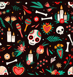 Day dead seamless pattern decorated sugar vector