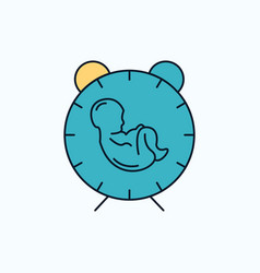Delivery time baby birth child flat icon green vector