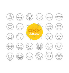 Different thin line emoji collection icon set vector