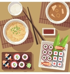 Dining table with japanese food top view vector