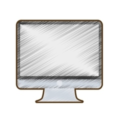 drawing computer screen monitor technology vector image