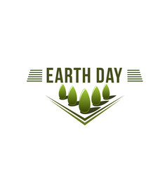 Earth day ecology green nature trees icon vector