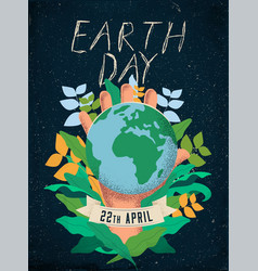 earth day poster design template concept vector image