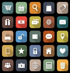 Ecommerce flat icons with long shadow vector