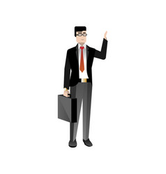 European businessman with suitcase waving hand vector