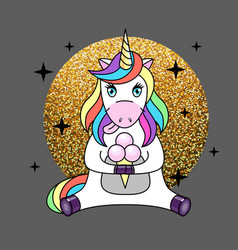 fantasy animal horse unicorn with ice cream vector image