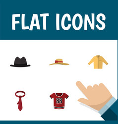 flat icon garment set of t-shirt elegant headgear vector image