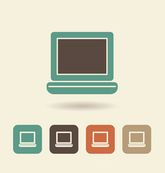 flat icon laptop simple logo vector image