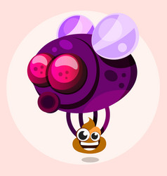 fly with poop in cartoon style vector image