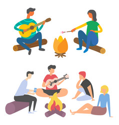 friends spending time and playing acoustic guitar vector image