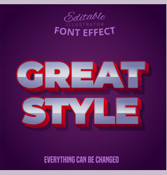 Great style text editable font effect vector