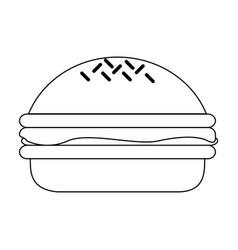 hamburger fast food black and white vector image