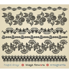 Hand draw black flower ornament vector
