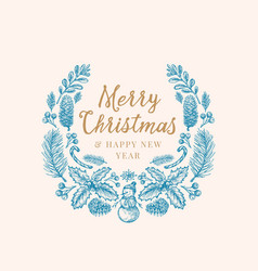 hand drawn christmas greetings sketch wreath vector image